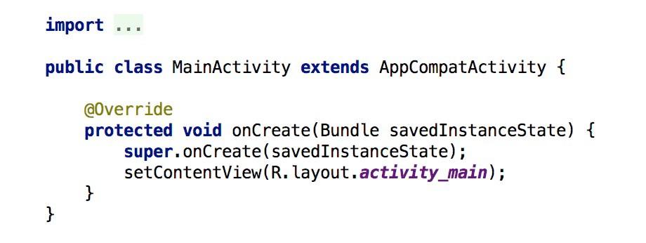 Trozo de código básico de una Activity en Android
